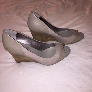Shoes | Gray Peep Toe Banana Republic Wedges